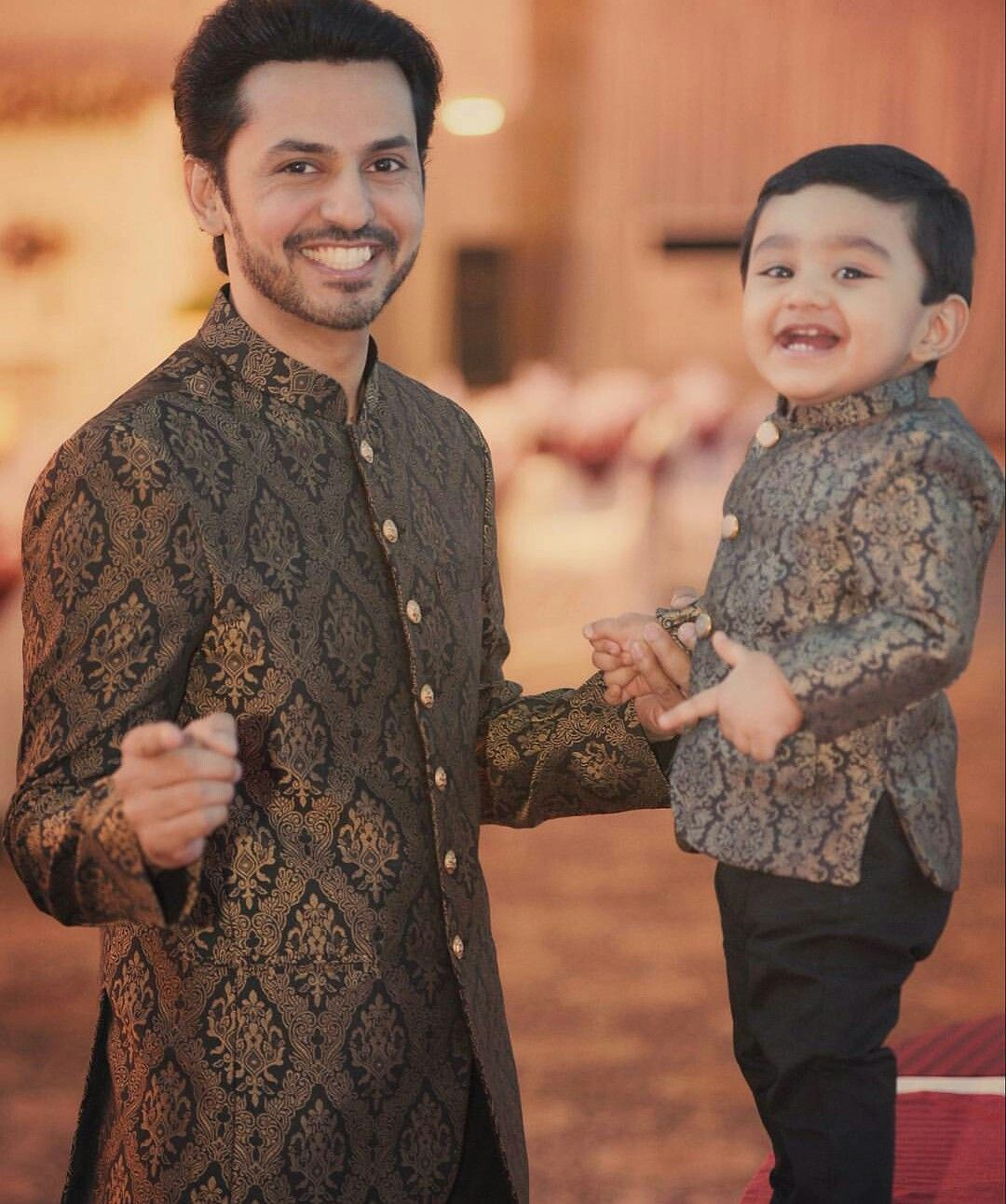 Awww like dad like son Mom and son outfits, Kids ethnic