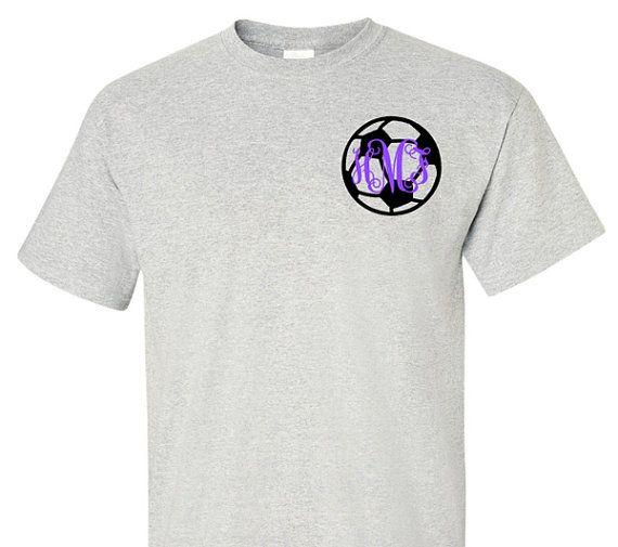 Monogram Soccer Shirt Adult T-Shirt Sports by VinylDezignz on Etsy