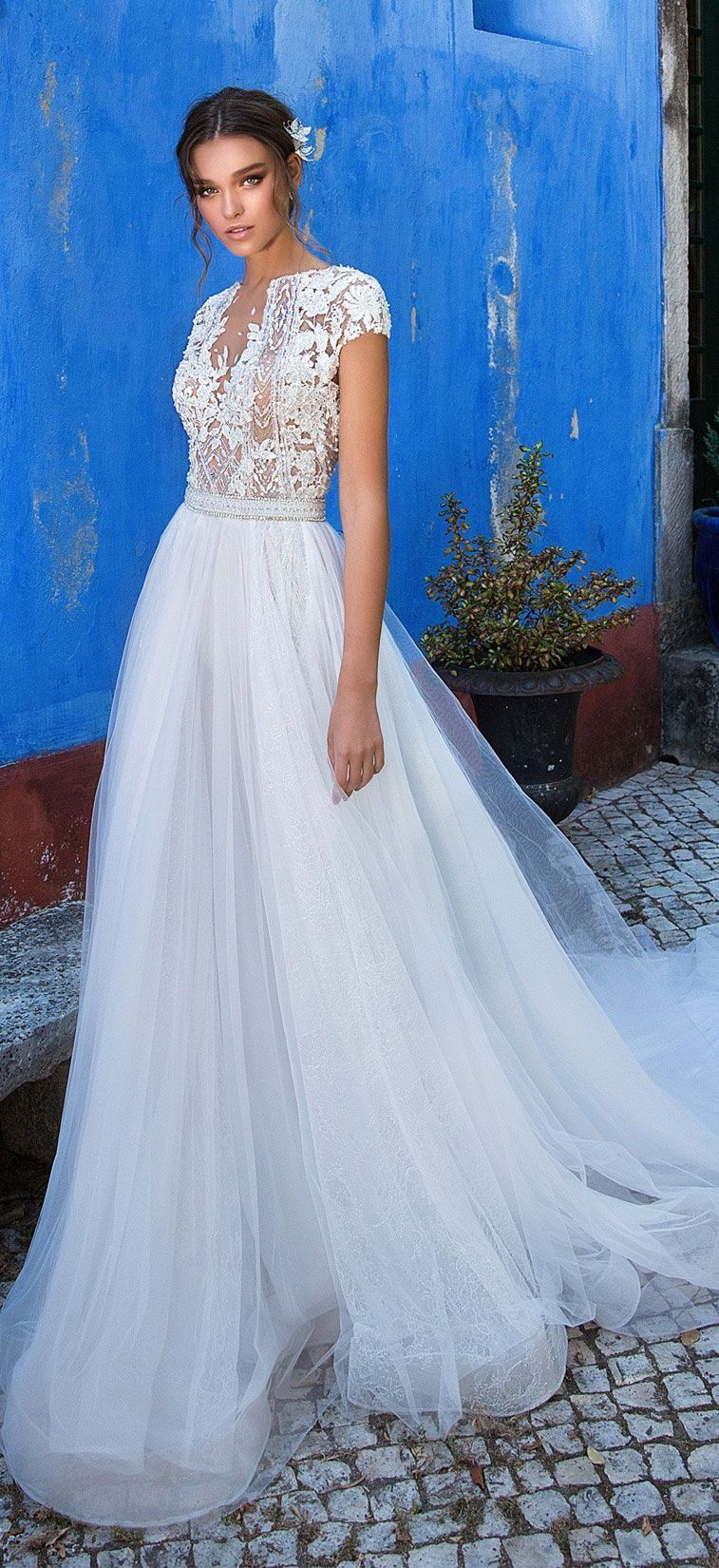 Short sleeves embellishment a line wedding dress wedding