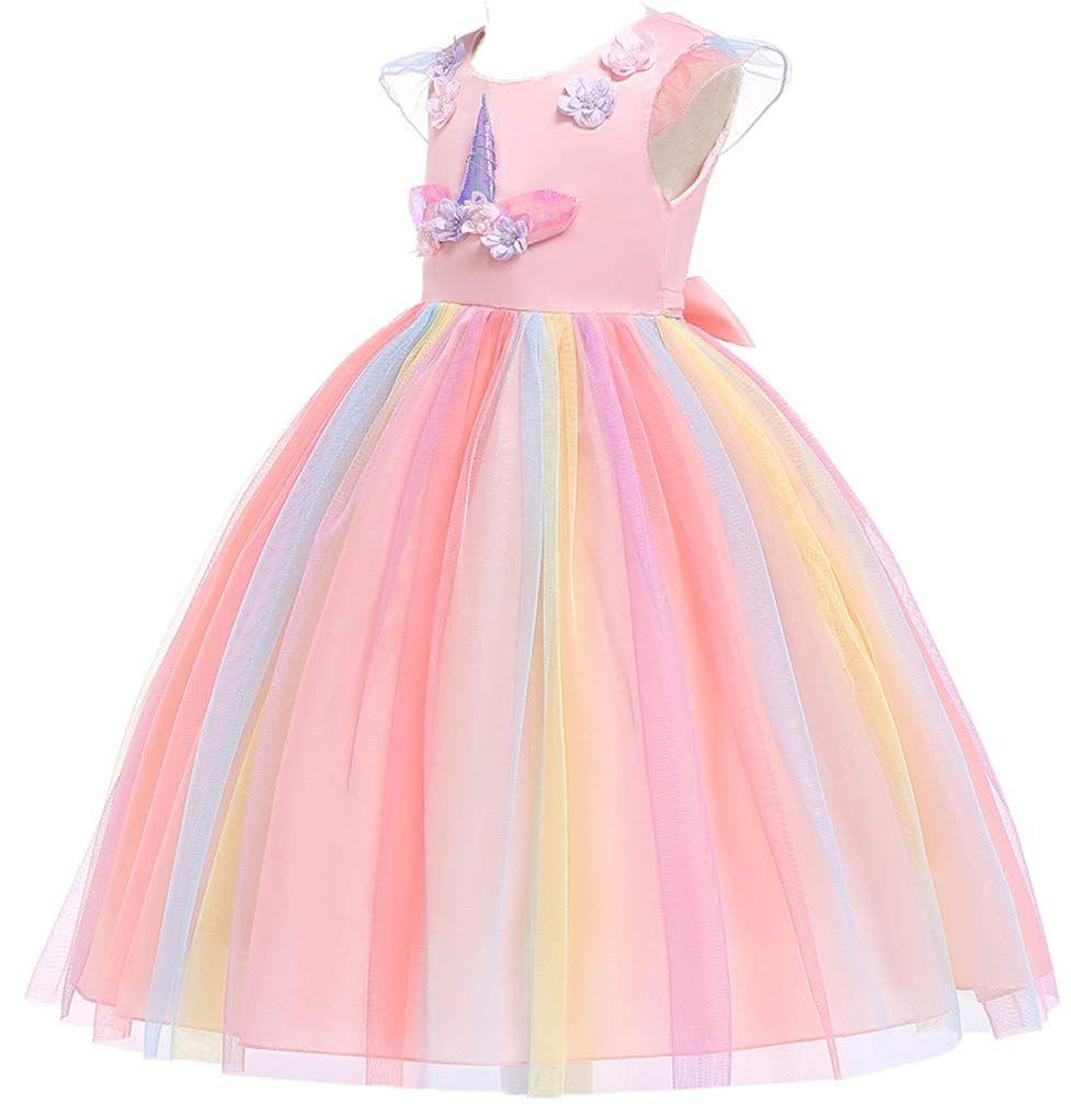 Toddler Baby Girls Layered Ruffles Pageant Birthday Party Dress Unicorn Cosplay Dress with Headband