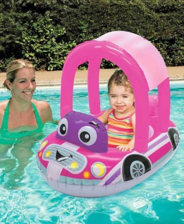 Pink Cozy Car Pool Float Seat w Canopy Baby Toddler 924 Months