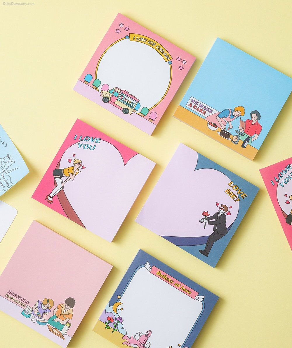 Sweet Love Notepad 6types Heart Notepads Colorful Memo Etsy Memo Pad Design Memo Writing Note Pad