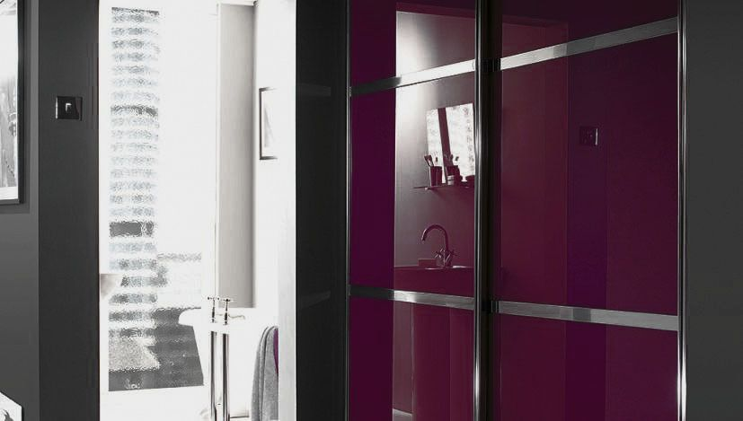 2 aubergine glass sliding wardrobe doors made to measure. Black Bedroom Furniture Sets. Home Design Ideas