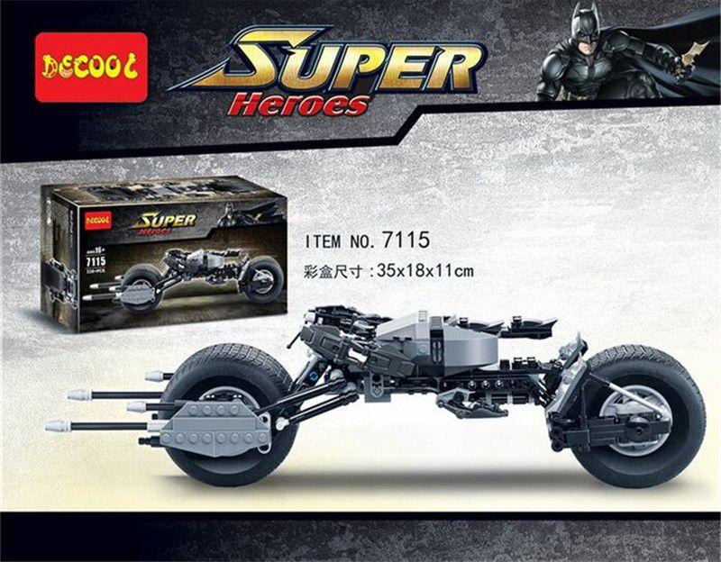 Decool 7115 Super Heroes Il Cavaliere Oscuro Batman Batmobile 338 PZ Mattoni batpod batcycle Building Blocks Giocattoli