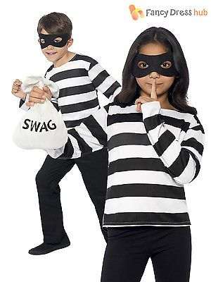 Child Burglar Bill Robber Fancy Dress Convict Kids Boys Book Week Day Costume Boys Fancy Dress Toddler Costumes Girl Boys Fancy Dress Robber Girl Costume