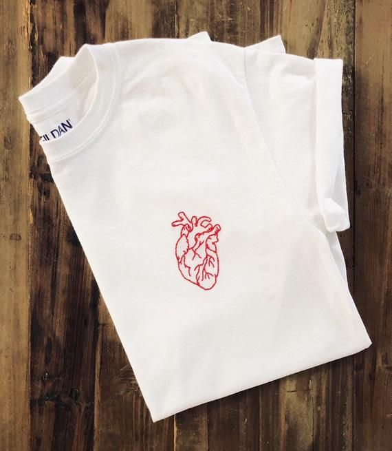 Anatomical Heart Embroidered Tee, Embroidered T Shirt, Embroidered Top, Hand Embroidered Shirt, Embroidered Apparel, Anatomy Shirt, Gift