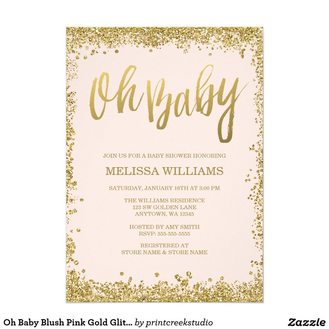 Oh Baby Blush Pink Gold Glitter Baby Shower Card | Babies, Baby girl ...