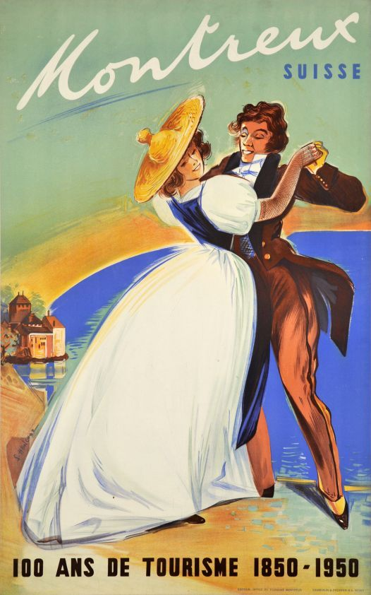 """1950 }{}{ """"Montreux, 100 years of tourism"""" Swiss Travel Poster }{}{ Dancers Dress 1850 }{}{ Lake of Geneva and Chillon Castel }{}{ artist Samuel Henchoz"""