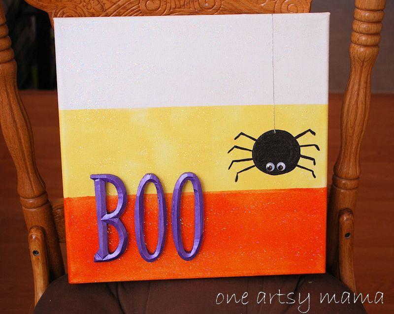 One Artsy Mama: BOO! Mod Podge Canvas Wall Art | Halloween ...