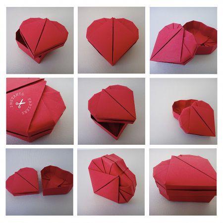 origami heart box tutorial   origami   pinterest   boite carton