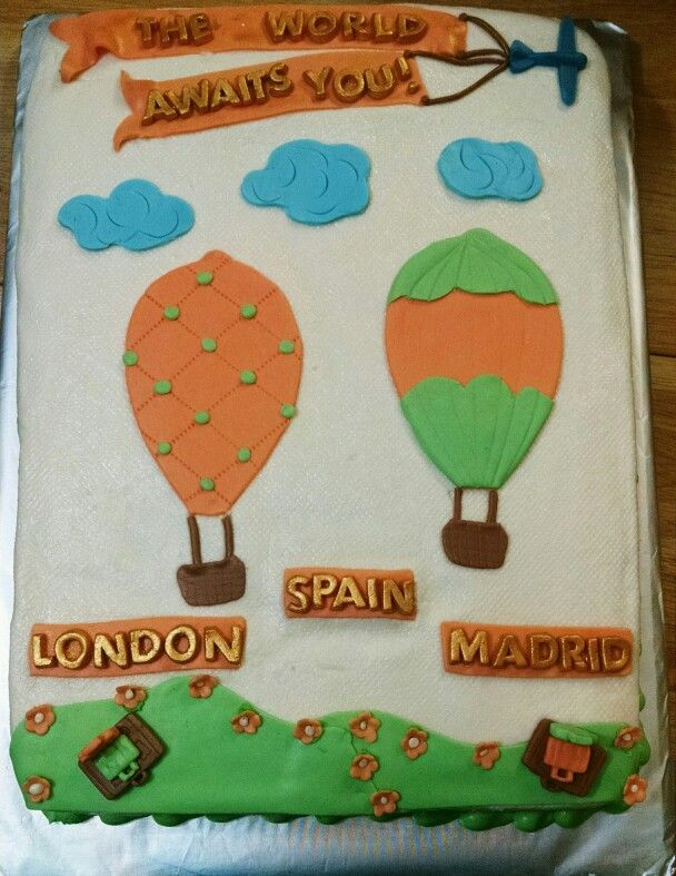 Travel Themed Baby Shower Cake with Hot Air Balloons
