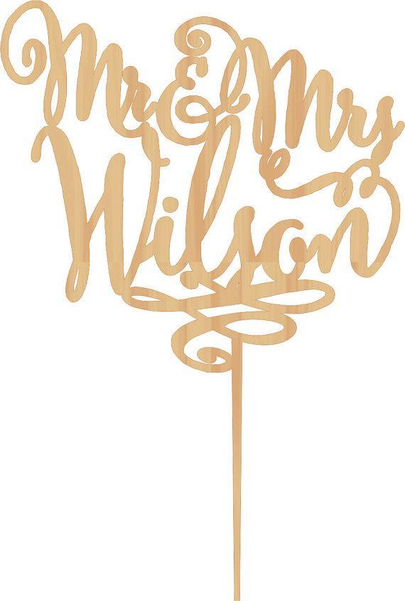 Personalized Last Name Wedding Cake Topper Mr by WeddingRusticDeco ...