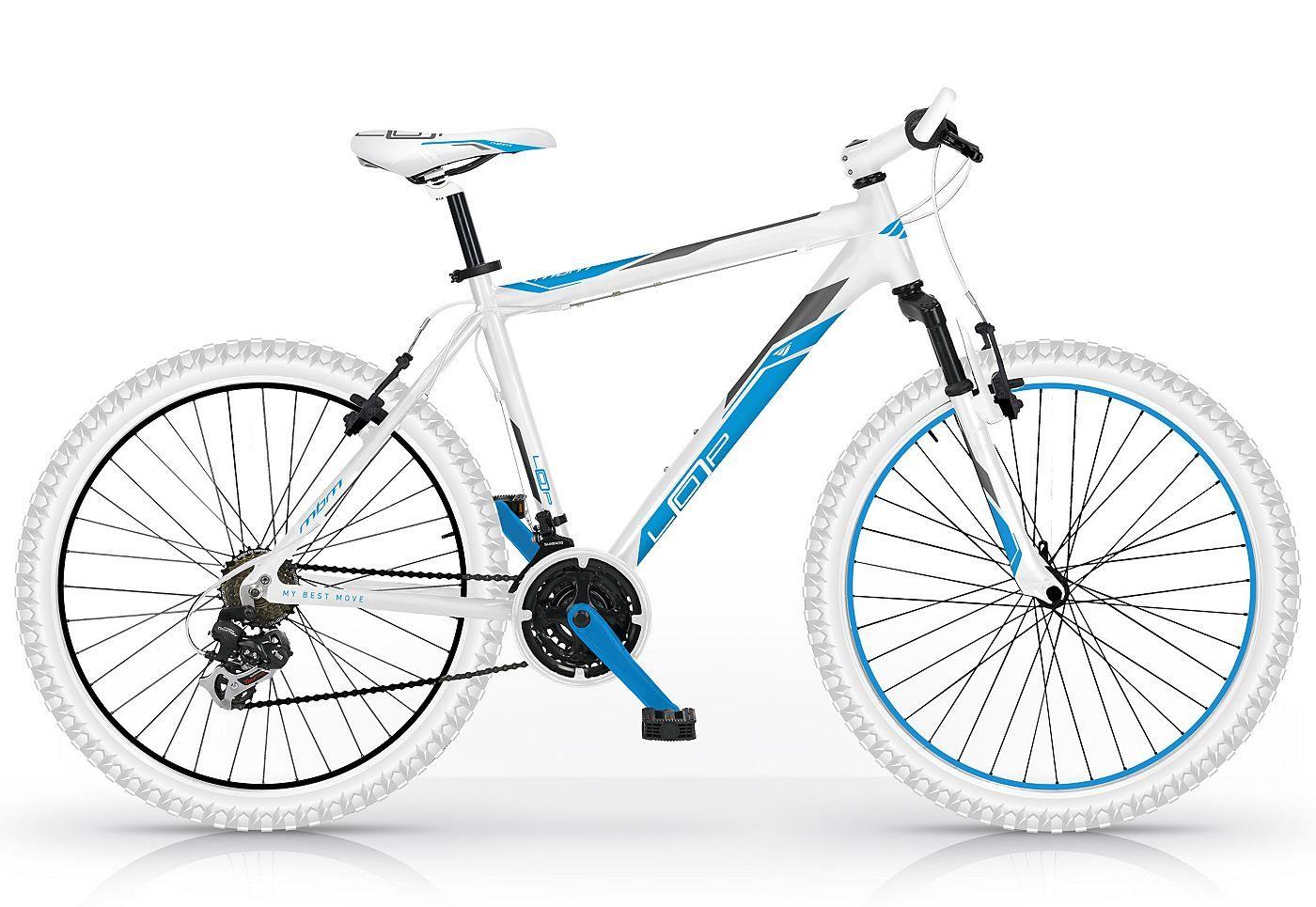 Herren Mountainbike, 26 Zoll, weiß-blau, 21 Gang Shimano, »Loop 653 ...