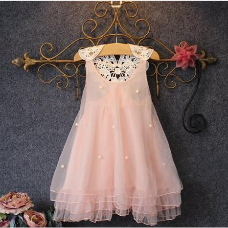 ddd2981bf19a  AdoreWe  Popreal Popreal Pink Pearl Chiffon Lace Design Dress for Girls -  AdoreWe.com
