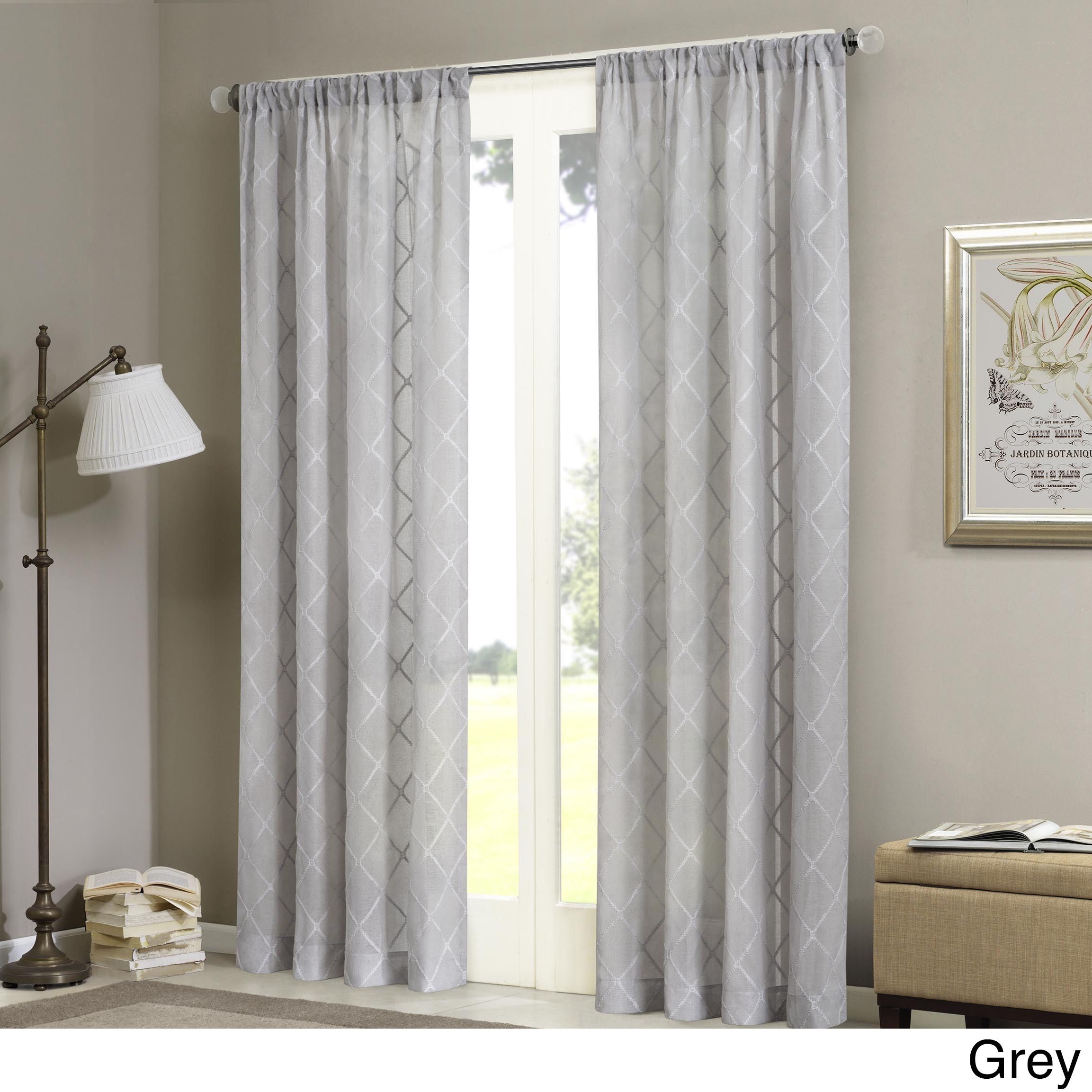 Madison Park Iris Embroidered Diamond Sheer Curtain Panel 50x84 White Grey White Size 50 X 84 Poly Panel Curtains Sheer Window Panels Sheer Curtain Panels