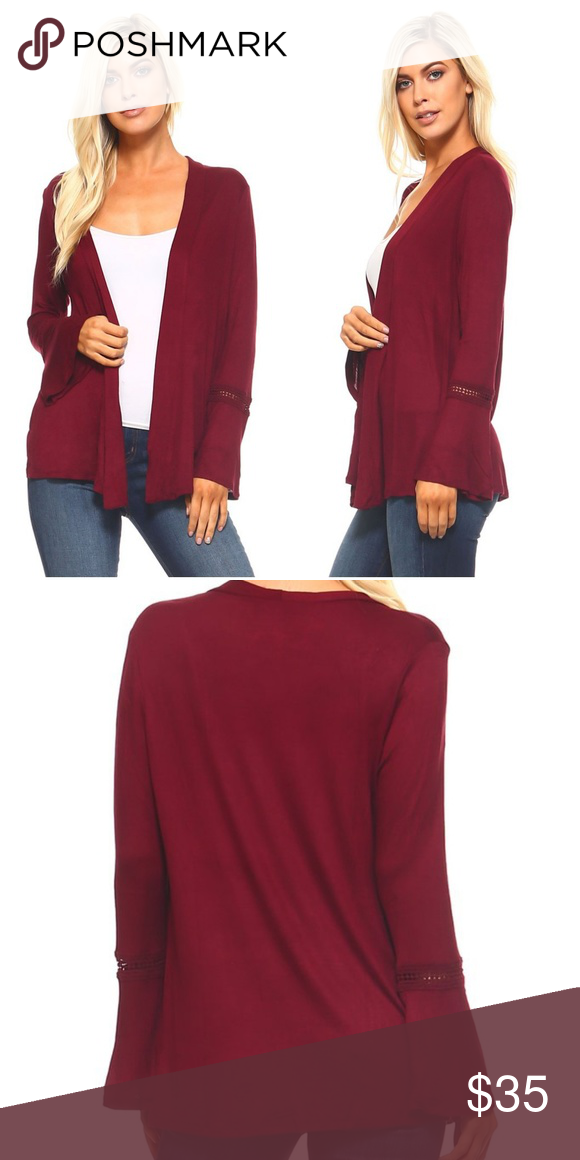 Crochet Bell Sleeve Cardigan Burgundy This Cardigan Goes Well Over A