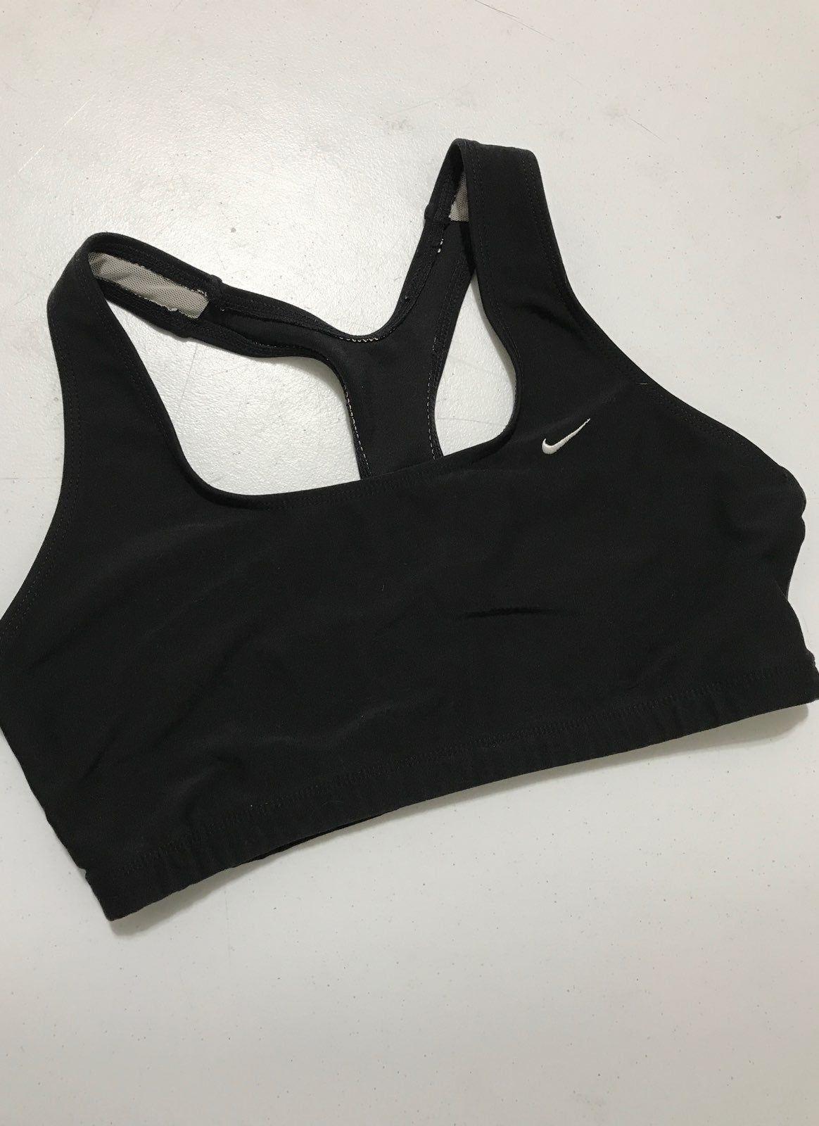 Black Sports Bra Size Medium Embroidered Swoosh Good Condition Sports Bra Nike Sports Bra Black Sports Bra