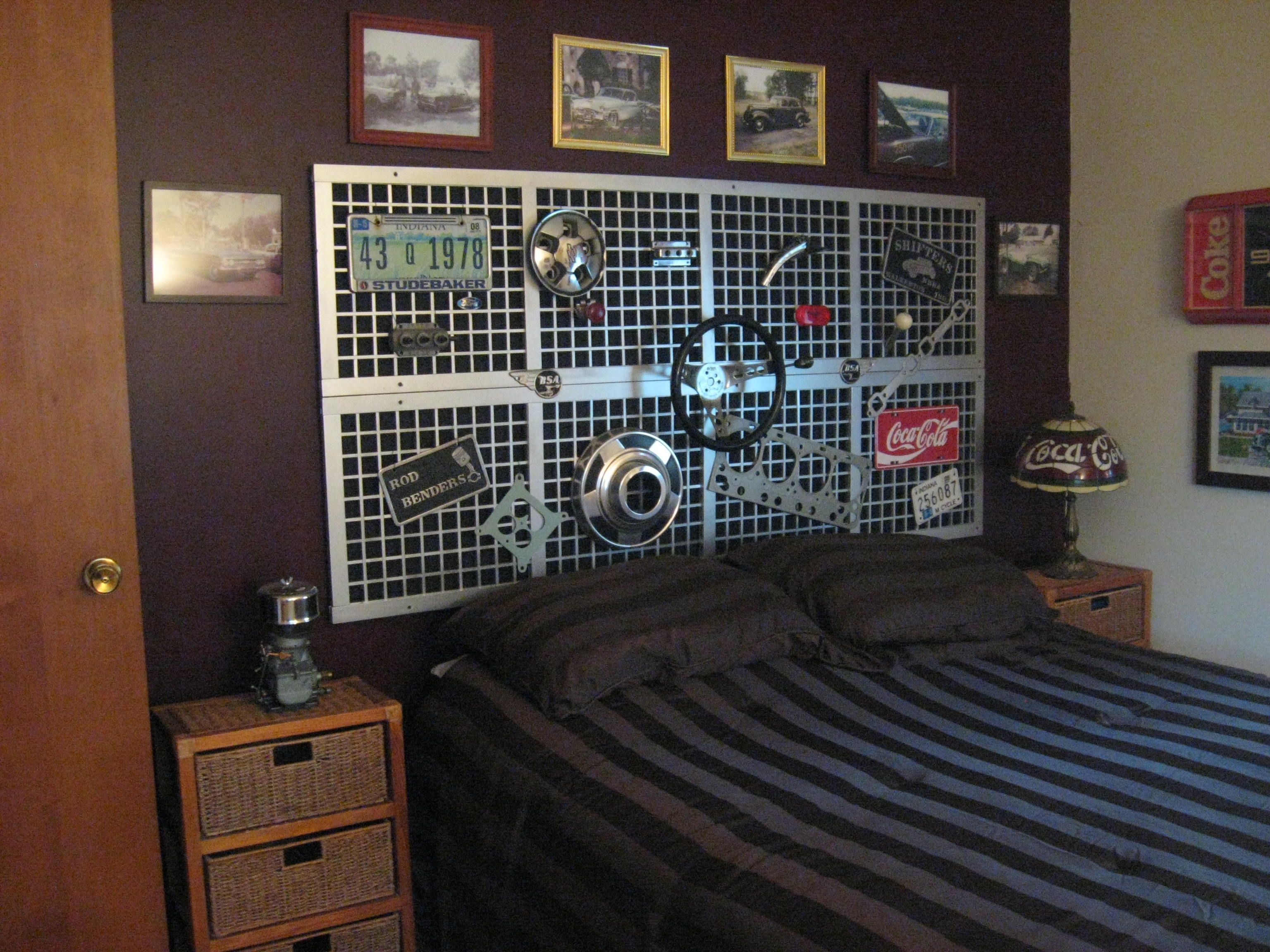 My guest bedroom, the headboard is full of old car parts (and ...
