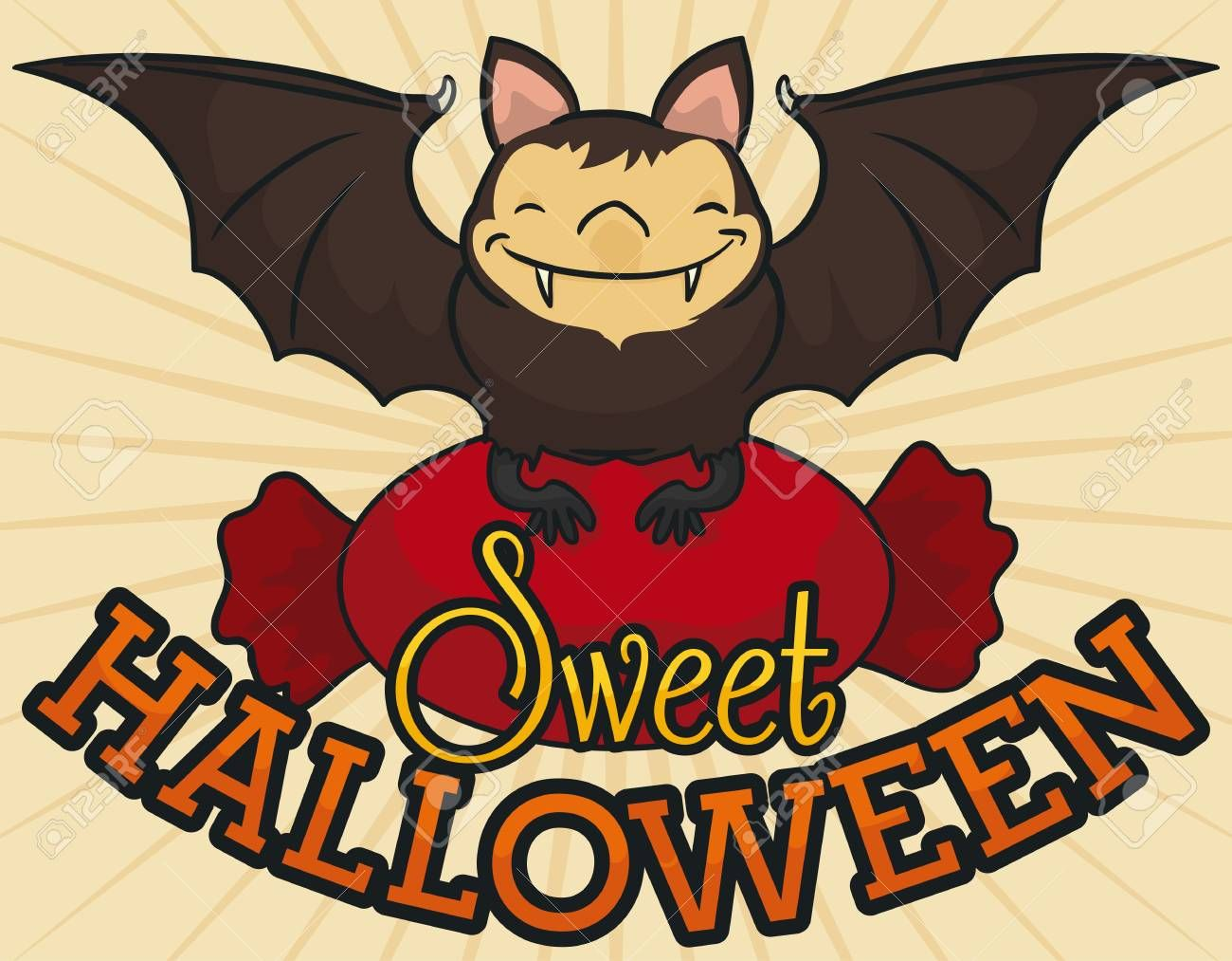 Poster with smiling bat holding a giant wrapped hard candy