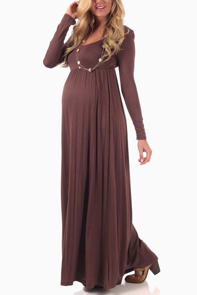 Mocha Long Sleeve Maternity Maxi Dress | Cute maternity dresses ...