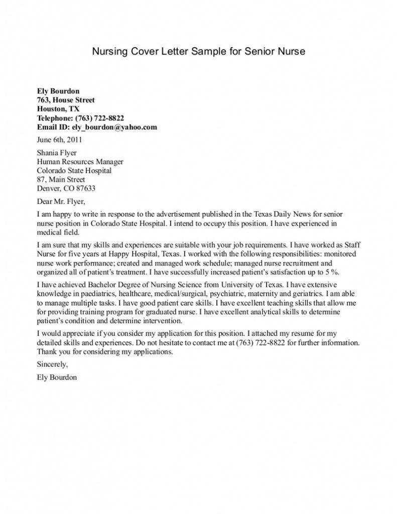 Sample Cover Letter For Nursing Internship Cute766