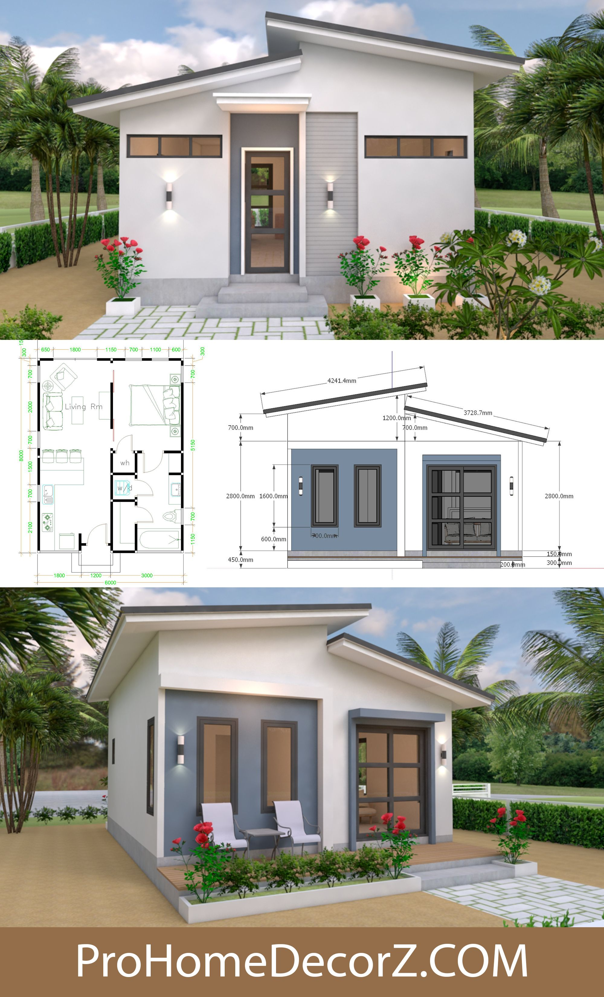 Small House 6x8 Shed Roof Full Plans 48sq M Two Story House Design Modern House Plans Small House Layout