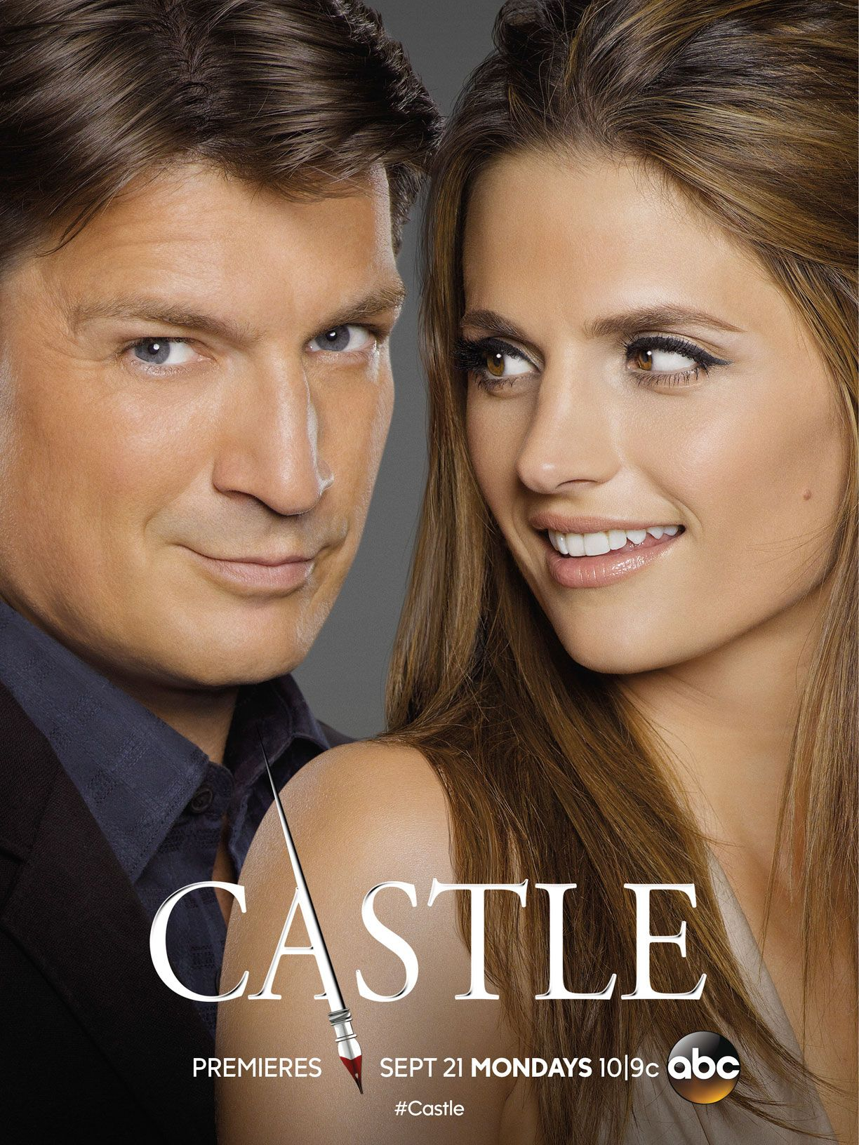 Castle First Look Beckett S Got Her Eye On Rick In New Season 8 Poster Castle Tv Stana Katic Castle Beckett