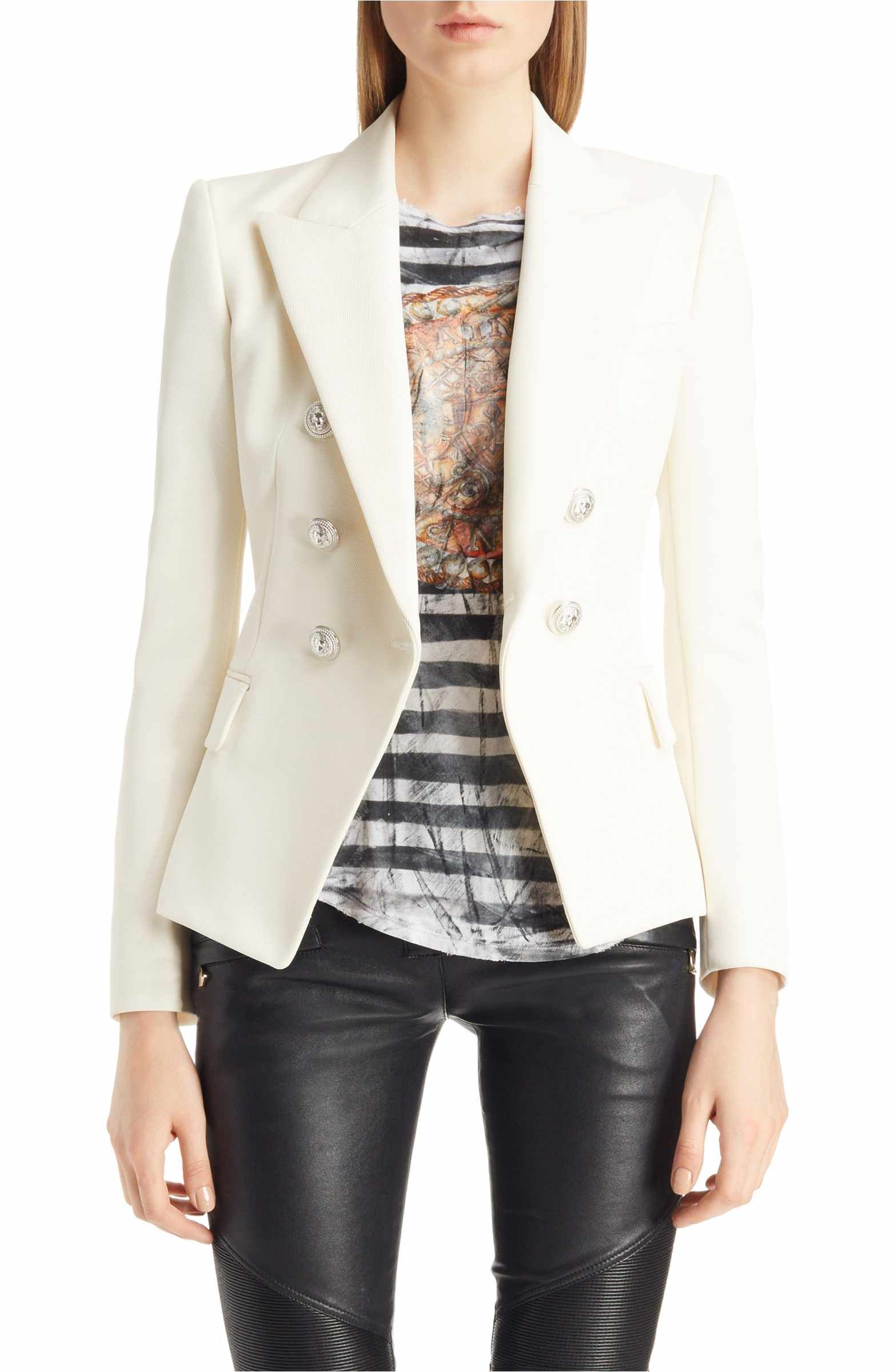 015f6714 Main Image - Balmain Double Breasted Wool Blend Blazer | Wantable ...
