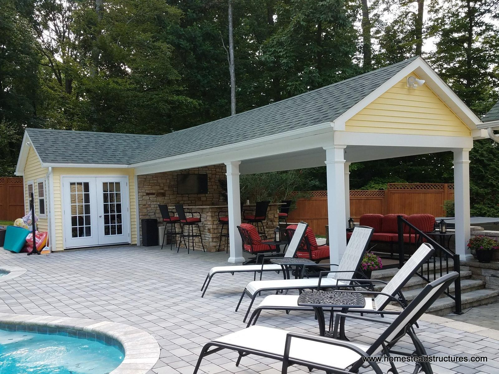 12x20 Custom Pool House With 12x29 Pavilion Pool Houses Pool House Plans Custom Pools