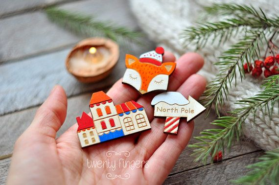 Christmas winter wooden brooch set of 3 pieces by TheTwentyFingers