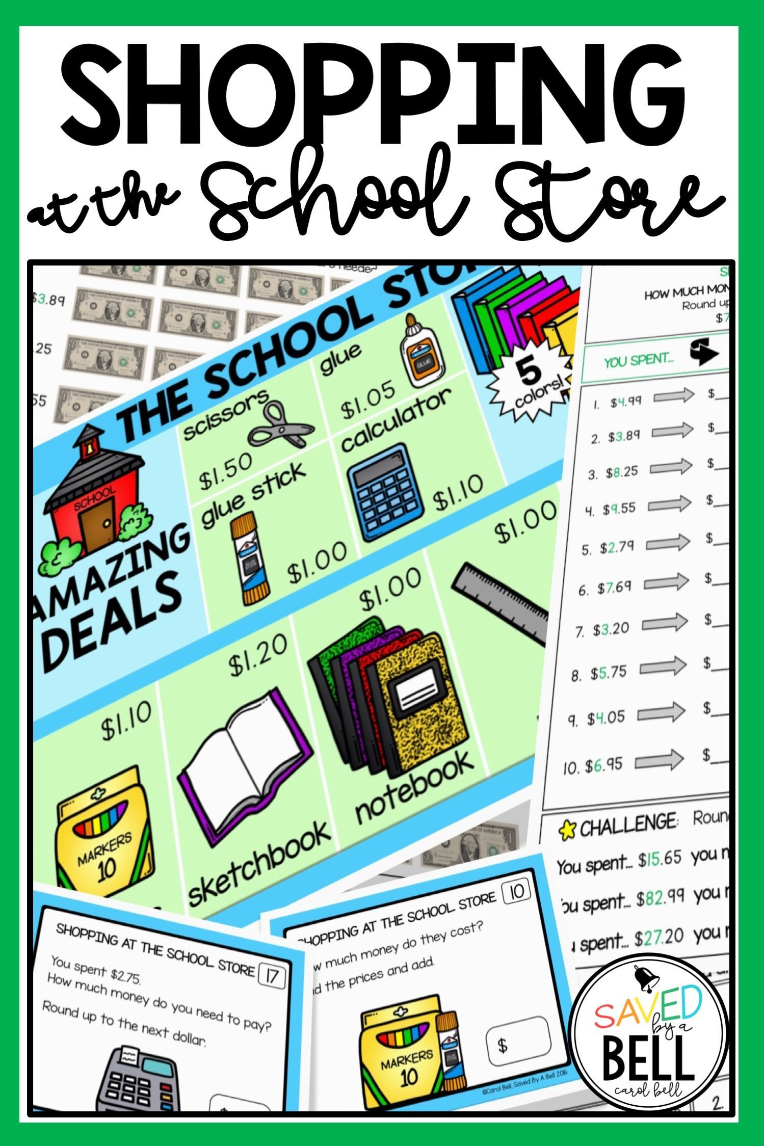 Shopping Worksheets And Task Card Bundle Add No Regrouping