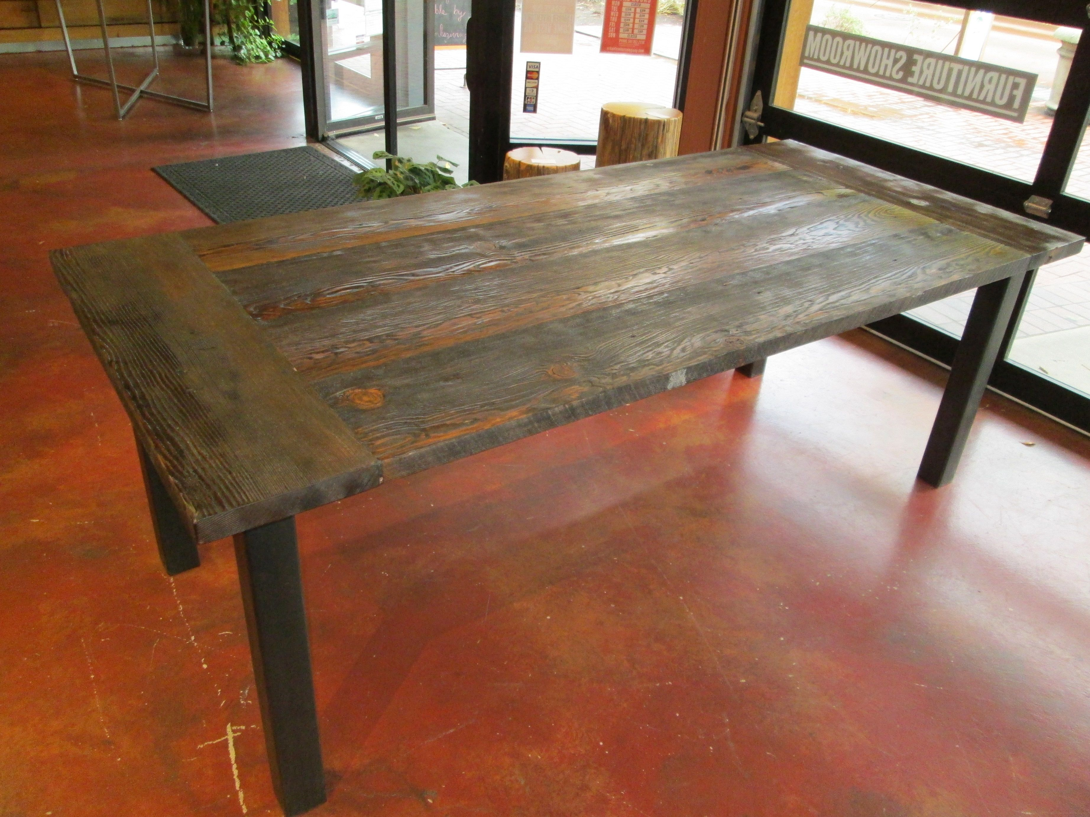Harvest Table With Breadboard Ends And Black Steel Legs. 6u0027 Long, 3u0027