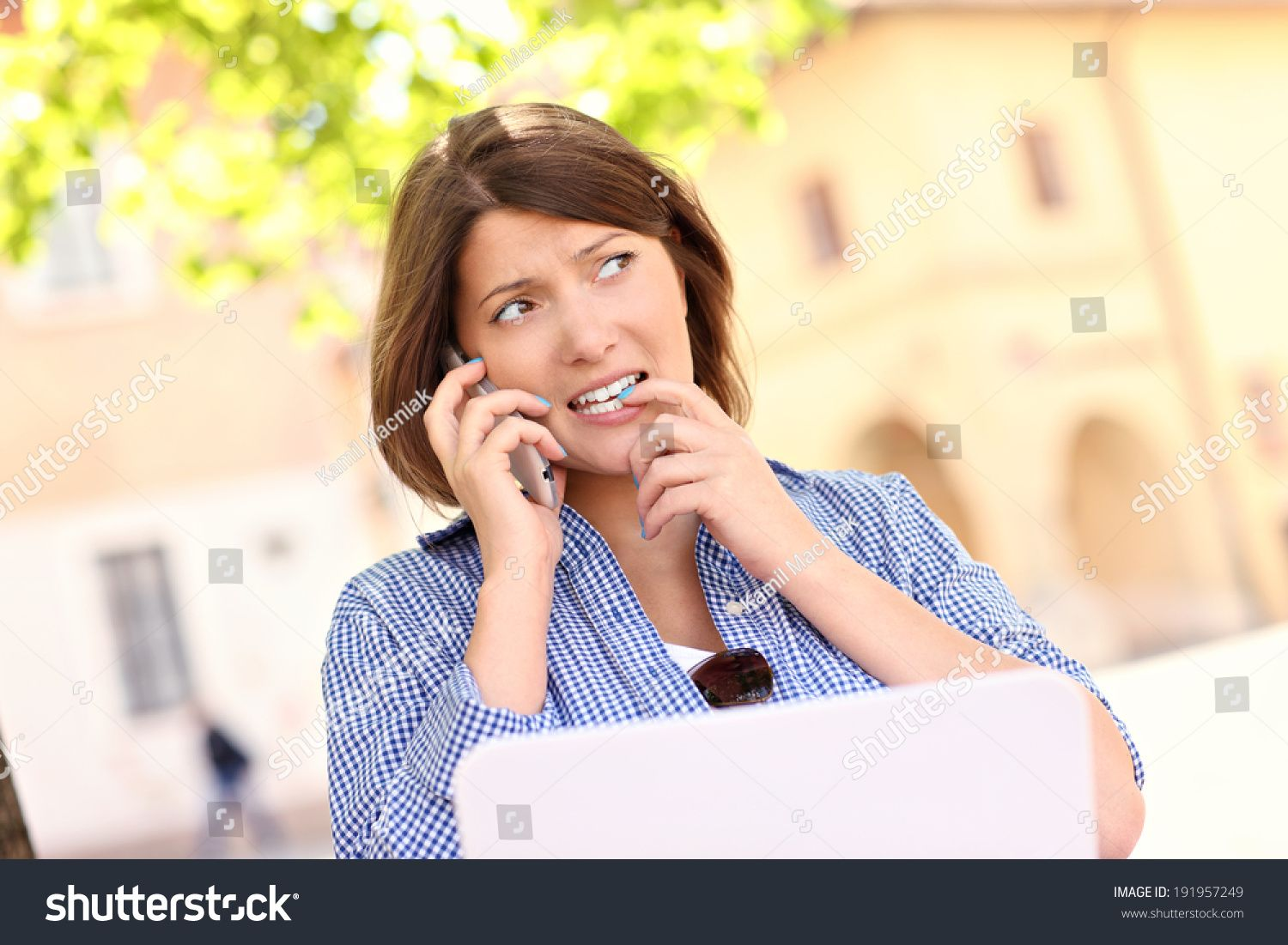 A Picture Of A Worried Woman With Laptop Talking On The Phone In The Park Sponsored Affiliate Woman Worried Pi Stock Photos Photo Editing Photos For Sale