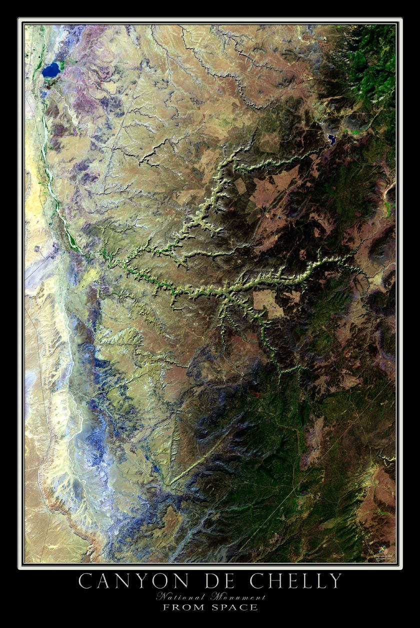 Satellite Map Of Arizona.Canyon De Chelly National Monument Arizona Satellite Poster Map