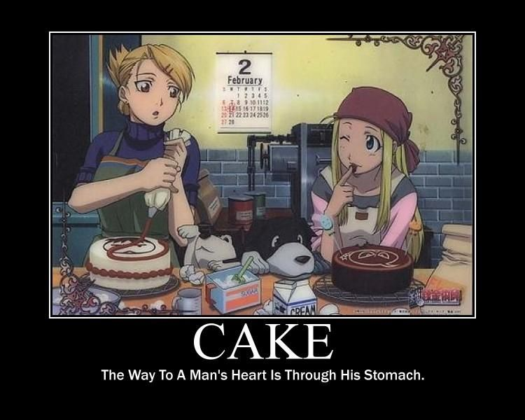 Fullmetal Alchemist. I love that Riza is decorating her cake with a red slash out sign over Roy's face.