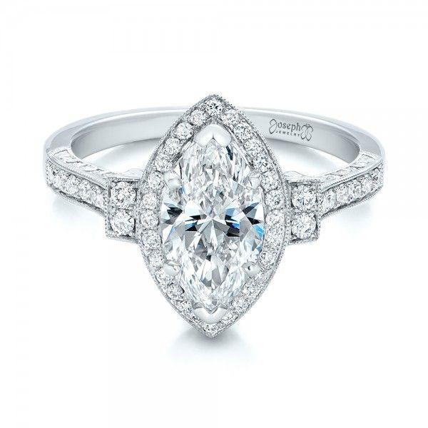 b058a4e127b6b Custom Marquise Diamond Halo Engagement Ring | Bridal and Baubles ...