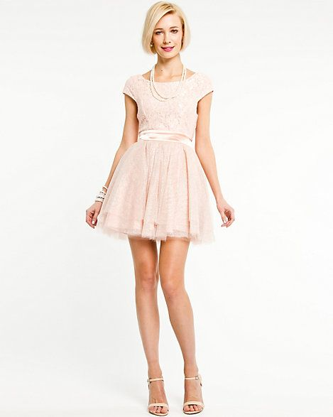 Le Château: Lace Boat Neck Fit & Flare Dress | dresses | Pinterest ...