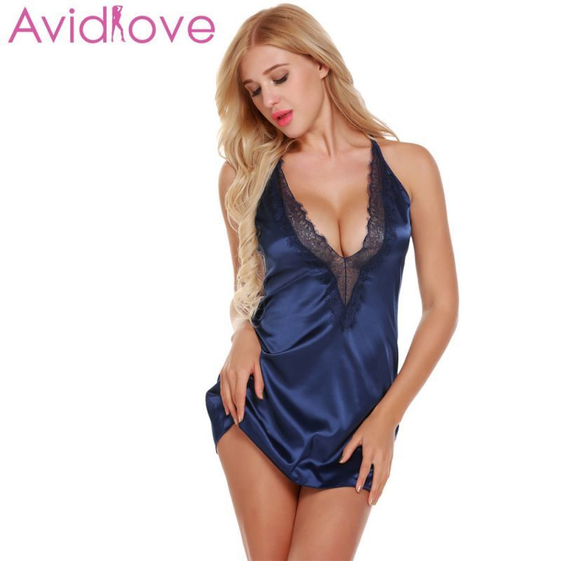 eec26d56e799e Night dress women sleepwear nighty plunging sexy satin chemise lace-trimmed nightgown  with g-