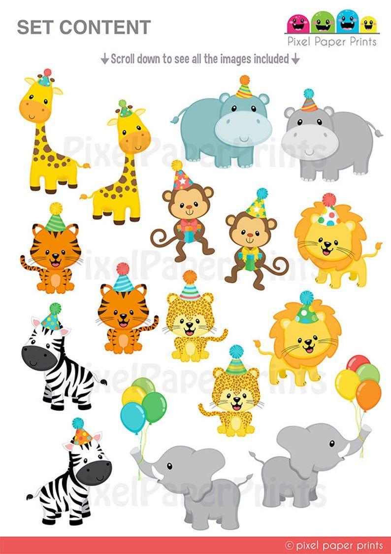 Jungle Party Clipart Safari Animals Clip Art Jungle Etsy In 2021 Party Clipart Jungle Animals Party Jungle Party