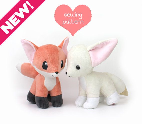 PDF sewing pattern bundle - Fox and Fennec stuffed animal with video ...