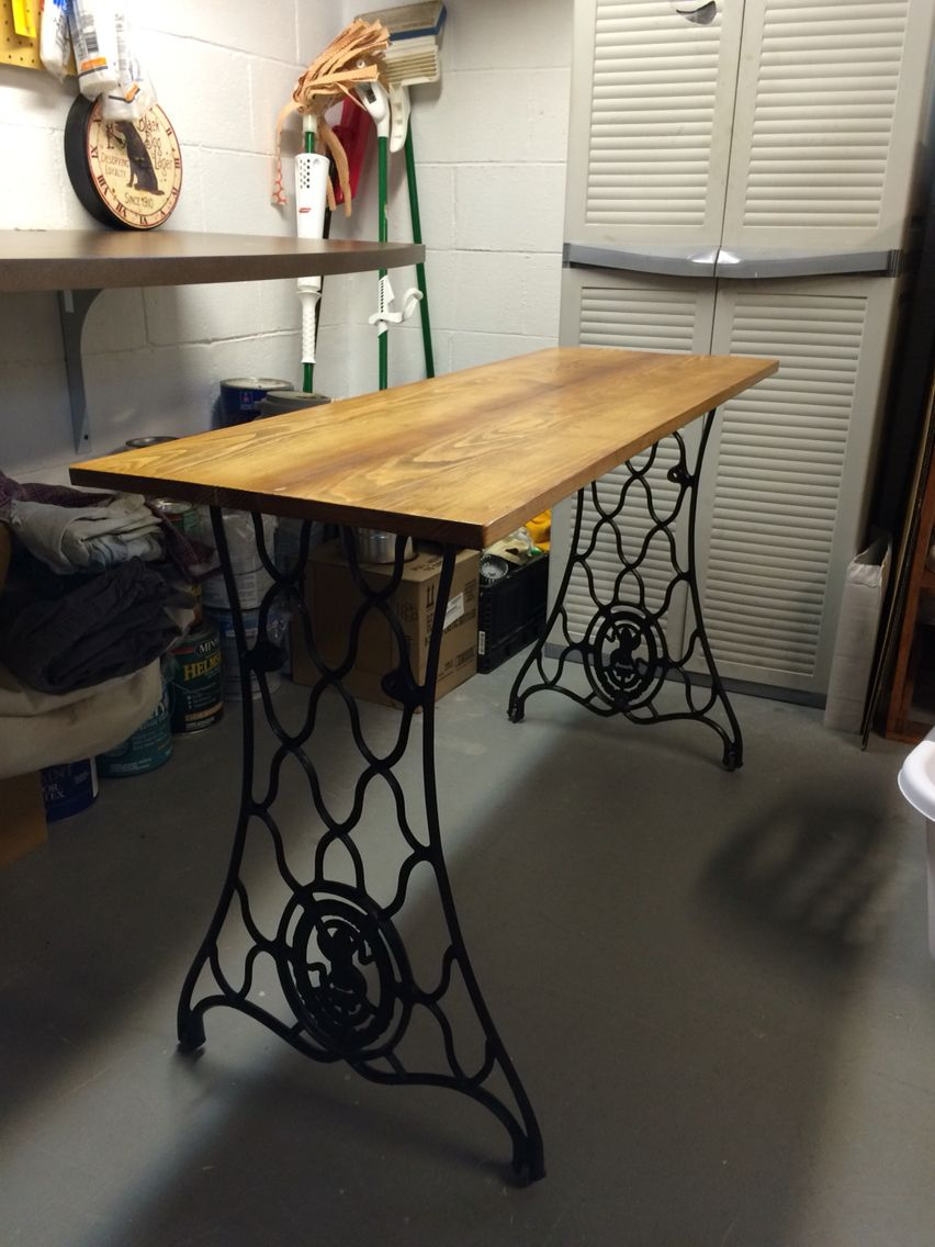 Table with Singer sewing machine legs Sewing table