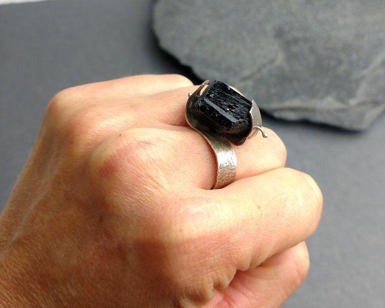 Black Tourmaline Ring Protection Mercurios Jewelry Black Tourmaline Ring Black Tourmaline Tourmaline Ring