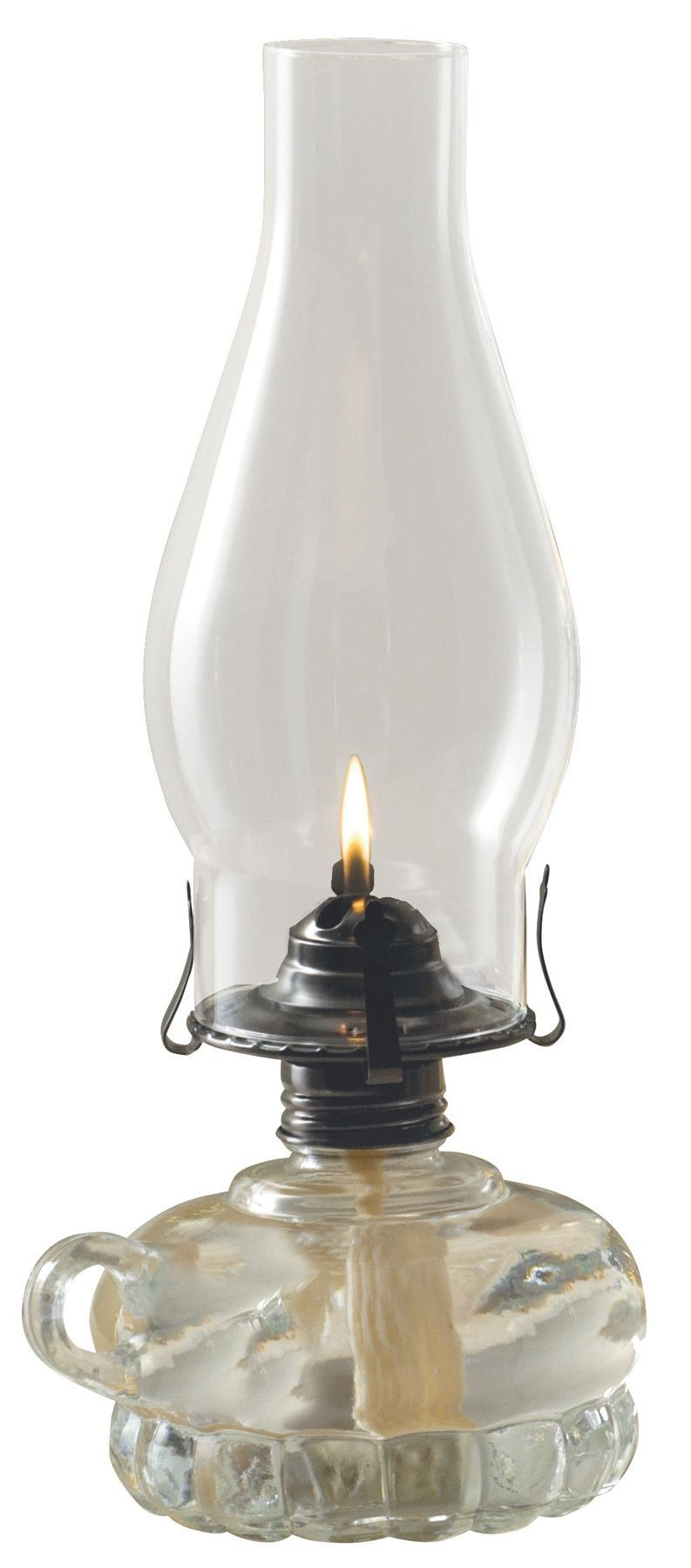 Features: -Classic chamber chimney oil lamp. -Pewter burner ...