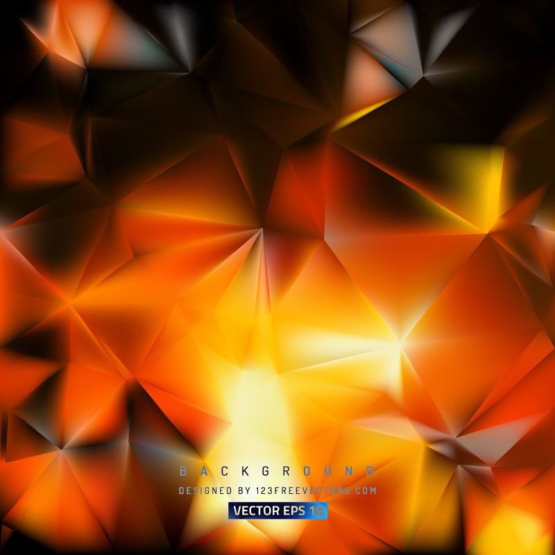 Abstract Black Orange Fire Polygon Background