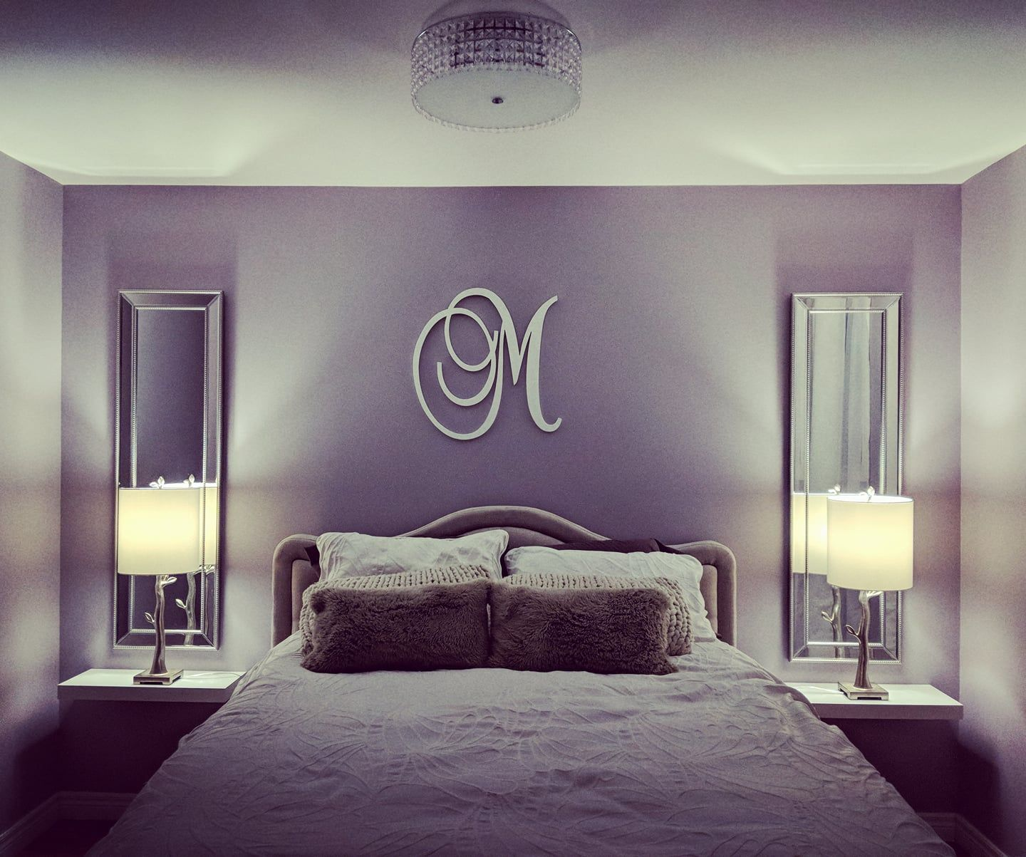 Master bedroom facelift: Lamps and long mirrors are from ...