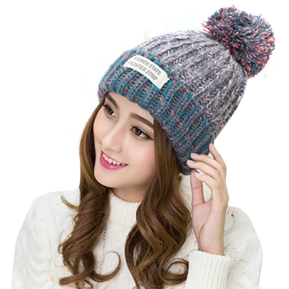 Click to Buy << Winter Hats For Women Autumn Warm Wool Knitted ...