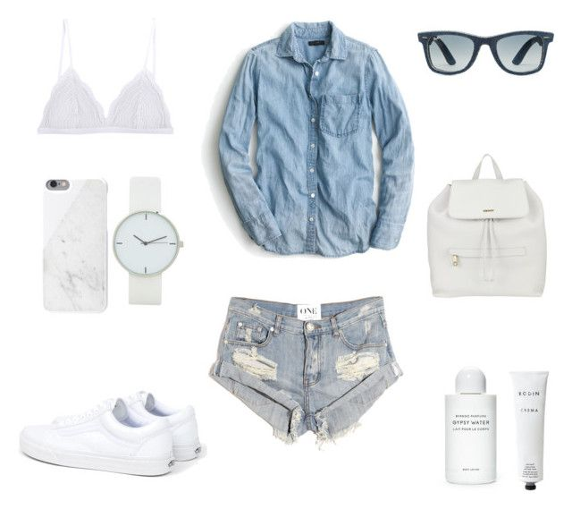 Denim and White by fashionlandscape on Polyvore featuring Mode, J.Crew, One Teaspoon, Cosabella, Vans, DKNY, Native Union, Ray-Ban, Byredo and Rodin Olio Lusso