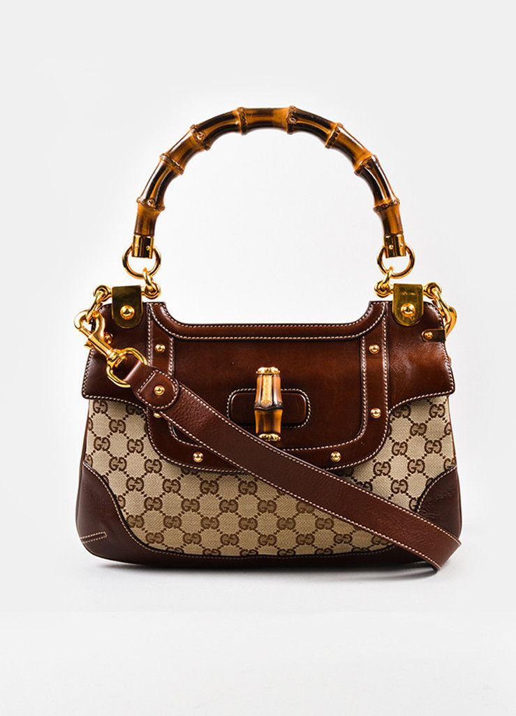 This Gucci Brown Canvas Leather Bamboo Monogram Print Shoulder Bag On Our Website