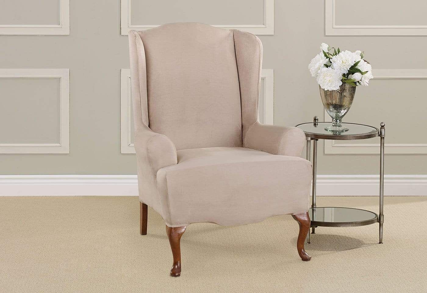 Ultimate Stretch Suede One Piece Wing Chair Slipcover T