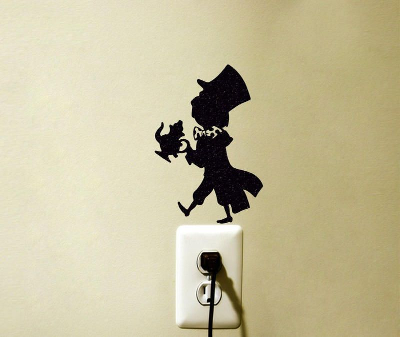 Mad hatter alice in wonderland inspired vinyl decal sticker light switch wall home decor by finedecalshop